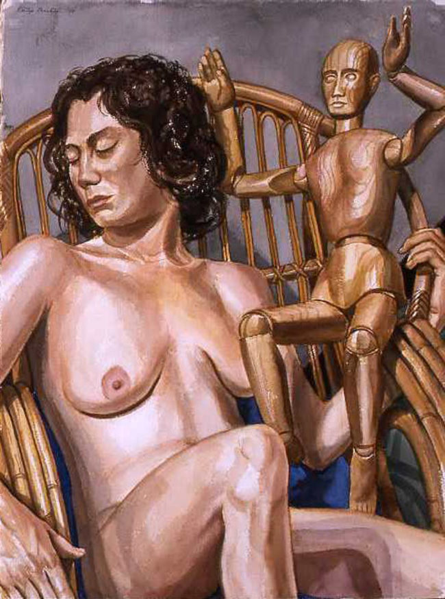 Philip Pearlstein, Woman on bamboo lunge with artist Manikin, 2004, Acquerello su carta, cm 76,5x56